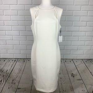 CALVIN KLEIN Cut Out Sheath Dress Cream Sz 14 NWT